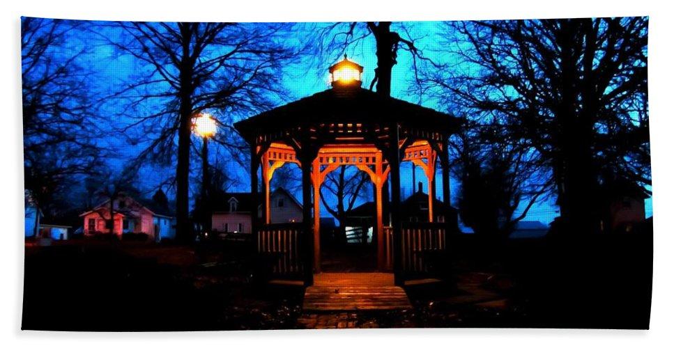 Lighted Gazebo Sunset Park Bath Sheet featuring the photograph Lighted Gazebo Sunset Park by Cynthia Woods