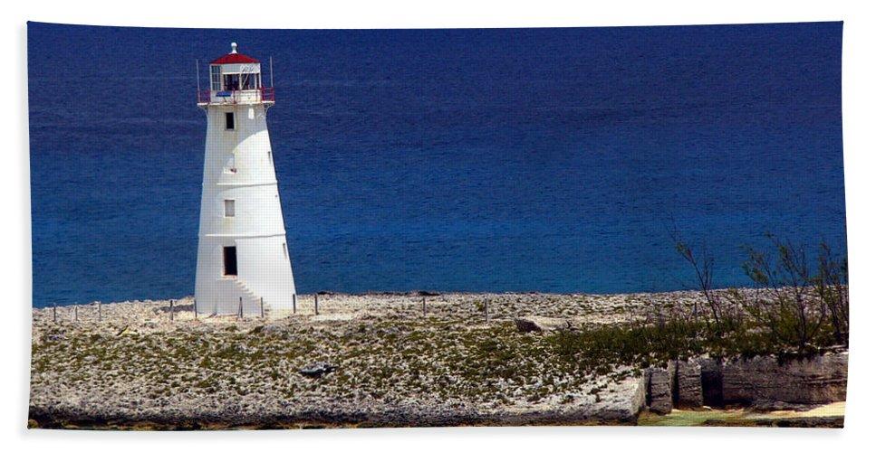 Bahamas Hand Towel featuring the photograph Lighthouse Along Coast Of Paradise Island Bahamas by Amy Cicconi