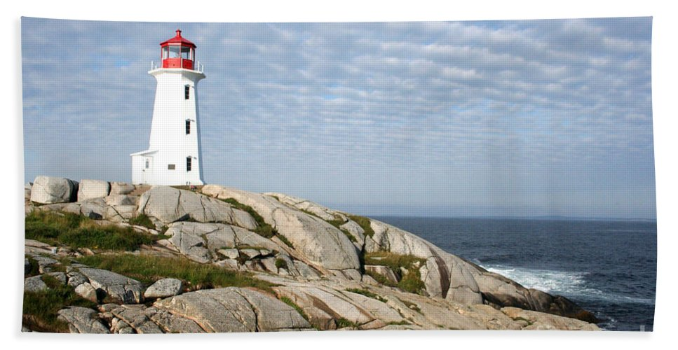 Lighthouse Hand Towel featuring the photograph Lighthouse At Peggys Point Nova Scotia by Thomas Marchessault