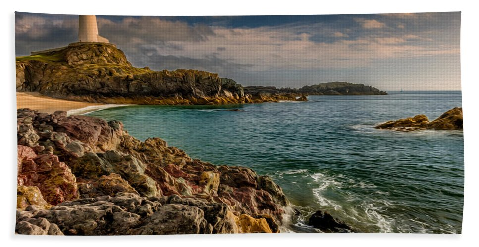 Anglesey Bath Sheet featuring the photograph Lighthouse Bay by Adrian Evans