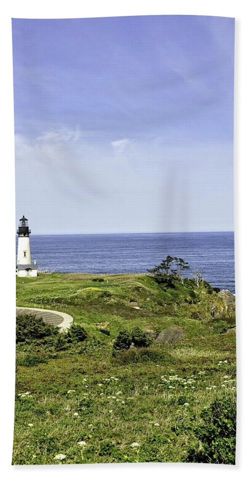 Newport Hand Towel featuring the photograph Lighthouse From Salal Hill by Image Takers Photography LLC - Laura Morgan