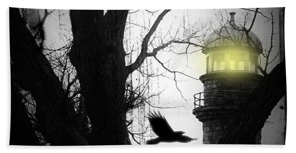 Lighthouse Bath Towel featuring the photograph The Lighthouse Is Lit by Gothicrow Images