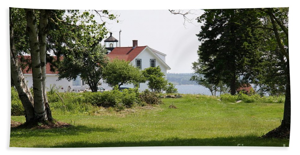 Fort Point Light Bath Sheet featuring the photograph Lighthouse Hidden Behind Trees by Christiane Schulze Art And Photography