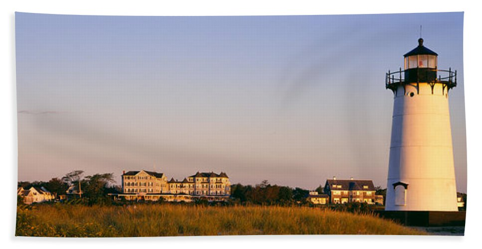 Photography Hand Towel featuring the photograph Lighthouse In A Town, Edgartown by Panoramic Images
