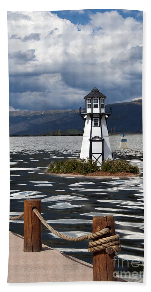 Building Exterior Hand Towel featuring the photograph Lighthouse In Lake Dillon by Juli Scalzi