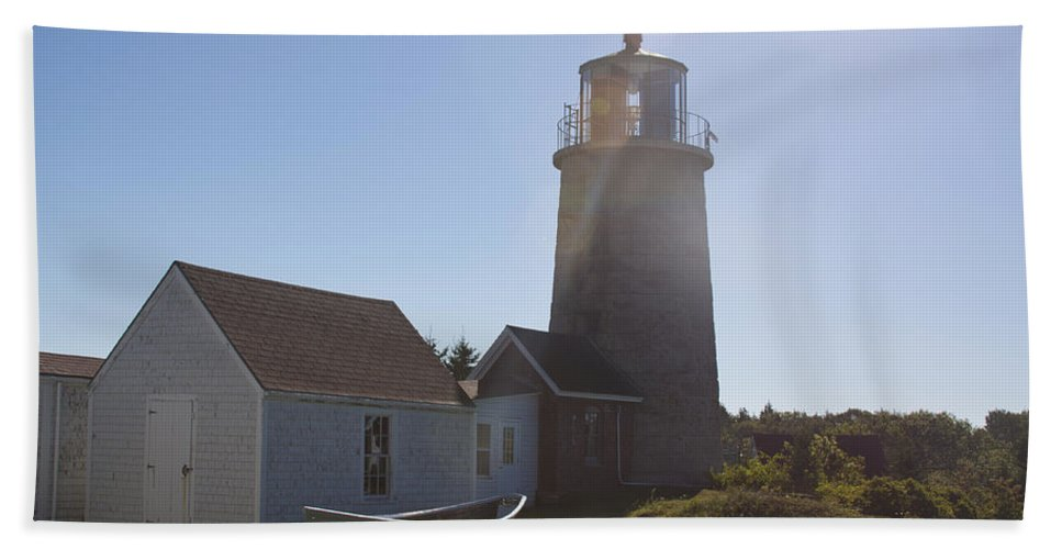 Lighthouse Hand Towel featuring the photograph Lighthouse In The Sun by Jean Macaluso