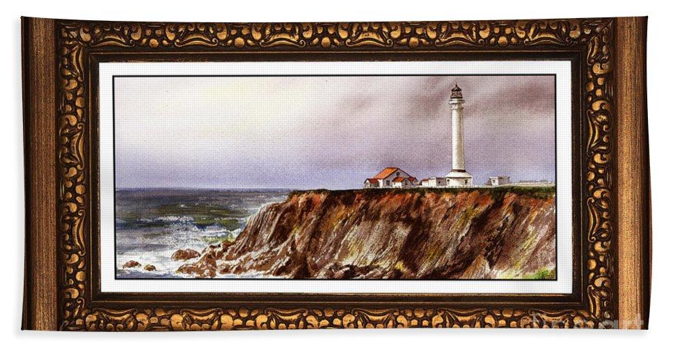 Lighthouse Bath Sheet featuring the painting Lighthouse In Vintage Frame by Irina Sztukowski