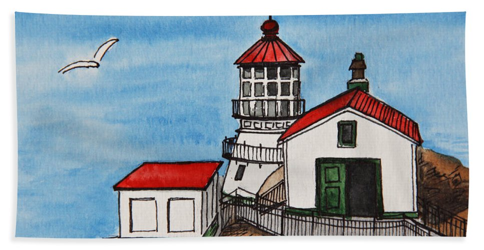 Lighthouse Hand Towel featuring the painting Lighthouse by Masha Batkova