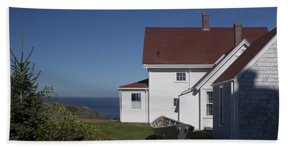 Lighthouse Hand Towel featuring the photograph Lighthouse Monhegan Color by Jean Macaluso