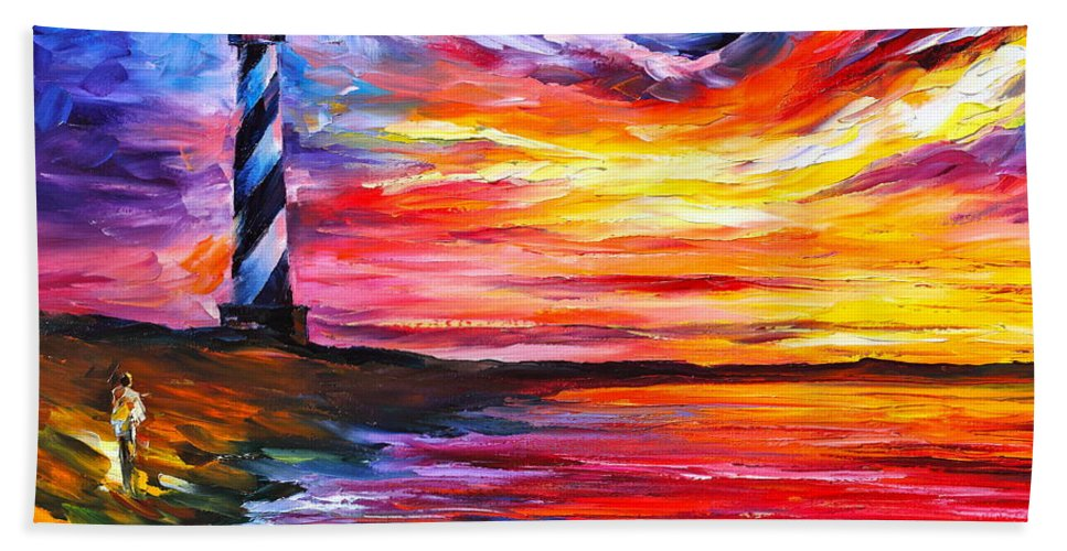 Water Bath Towel featuring the painting Lighthouse - New by Leonid Afremov