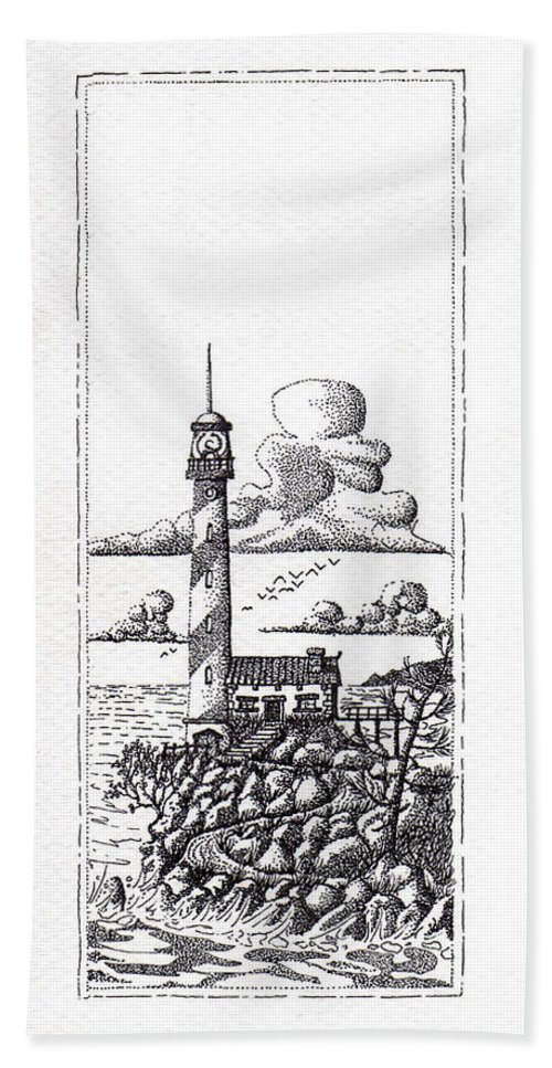 Lighthouse On A Cliff Hand Towel featuring the photograph Lighthouse On A Cliff Pointillist by Weston Westmoreland