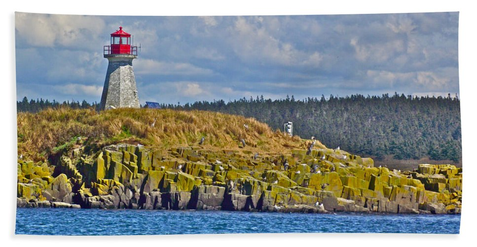 Lighthouse On Brier Island In Digby Neck Hand Towel featuring the photograph Lighthouse On Brier Island In Digby Neck-ns by Ruth Hager