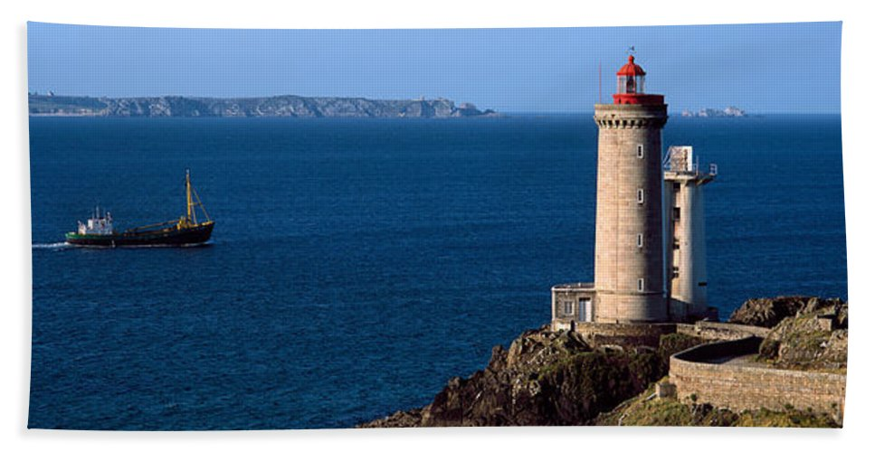 Photography Bath Sheet featuring the photograph Lighthouse On The Coast, Phare Du Petit by Panoramic Images
