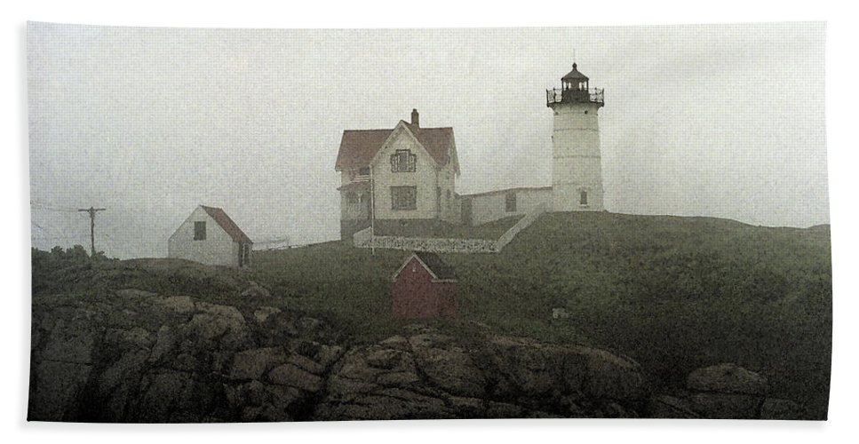 America Bath Sheet featuring the mixed media Lighthouse - Photo Watercolor by Frank Romeo