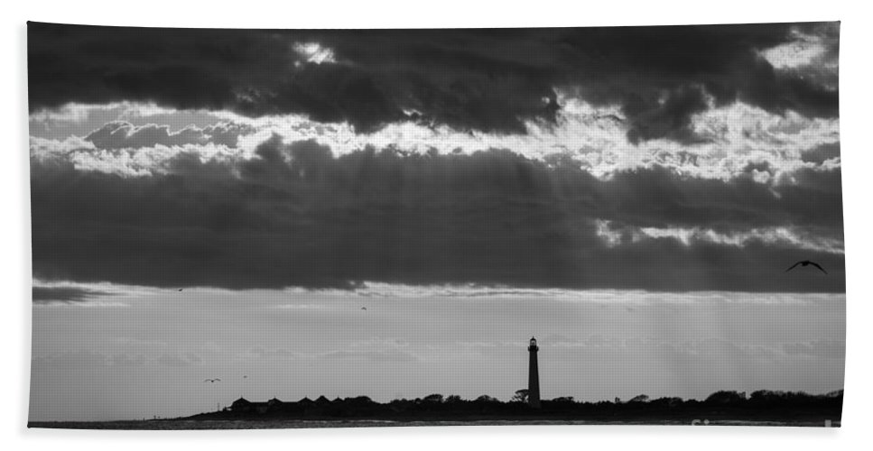 Cape May Bath Sheet featuring the photograph Lighthouse Sun Rays Bw by Michael Ver Sprill