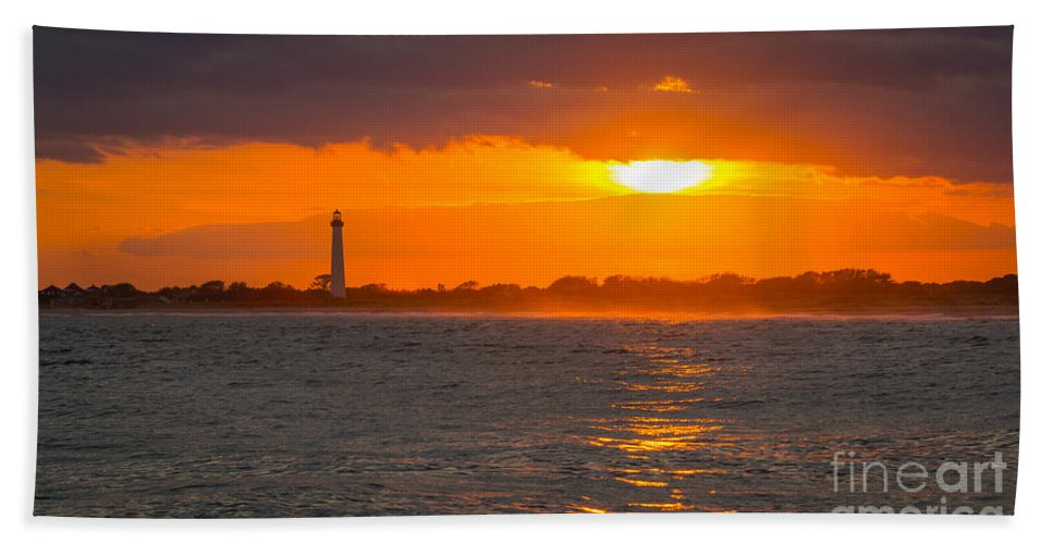 Cape May Bath Sheet featuring the photograph Lighthouse Sun Reflections by Michael Ver Sprill