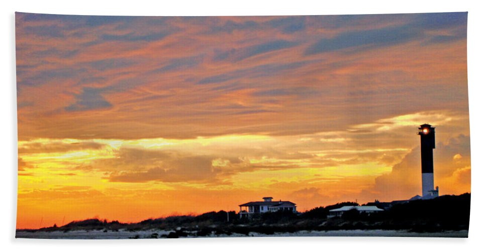 Lighthouse Sunset Bath Sheet featuring the photograph Lighthouse Sunset By Jan Marvin by Jan Marvin