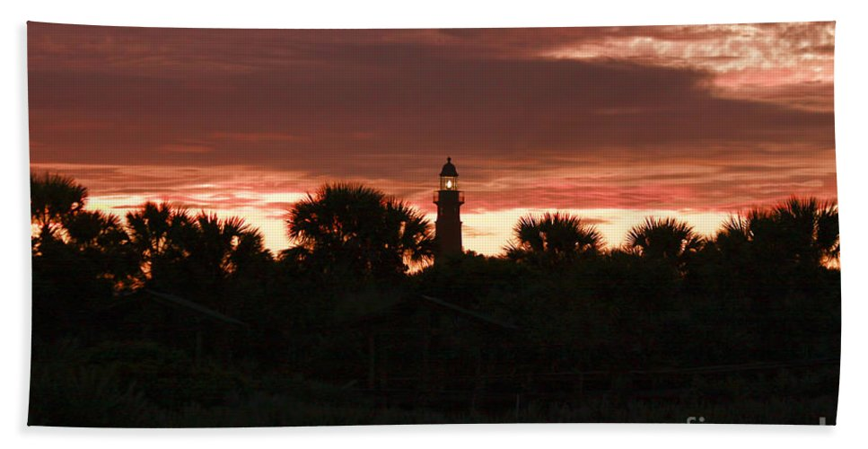 Sunset Bath Sheet featuring the photograph Lighthouse Sunset by Deborah Benoit
