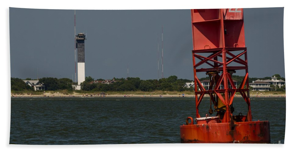 Sullivan's Island Lighthouse Bath Sheet featuring the photograph Lighthouse To Buoy by Dale Powell