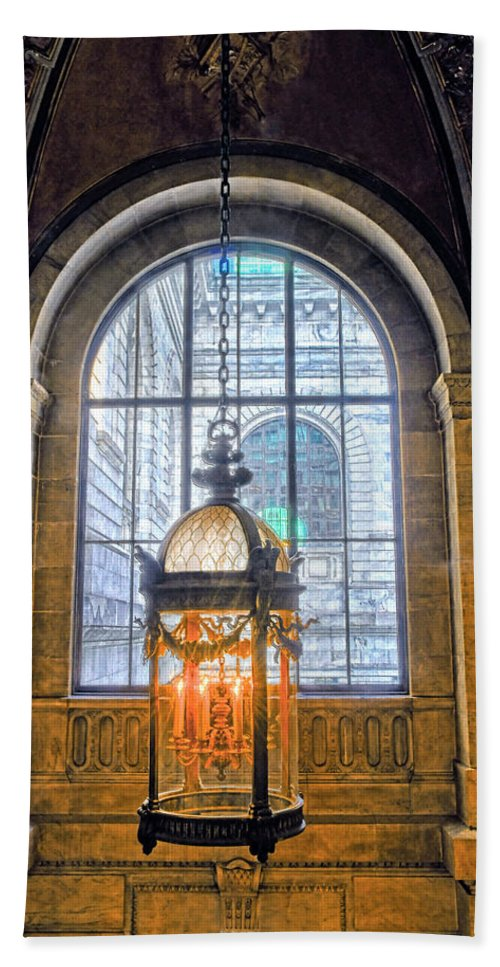 New York Public Library Bath Sheet featuring the photograph Lighting The Way by Dave Mills