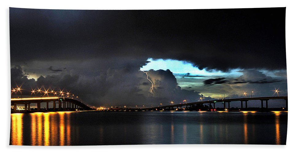 Lightning Photographs Bath Sheet featuring the photograph Lightning And The Cerulean Sky by Doug Heslep