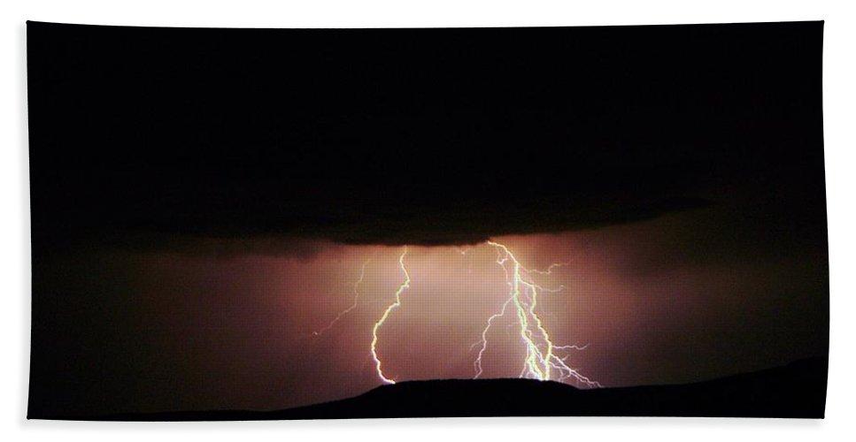 Lightning Bath Sheet featuring the photograph Lightning by Jeff Swan