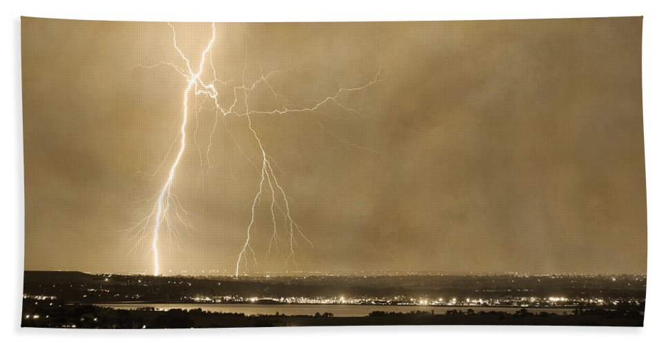 Lightning Bath Sheet featuring the photograph Lightning Strike Boulder Reservoir And Coot Lake Sepia 2 by James BO Insogna