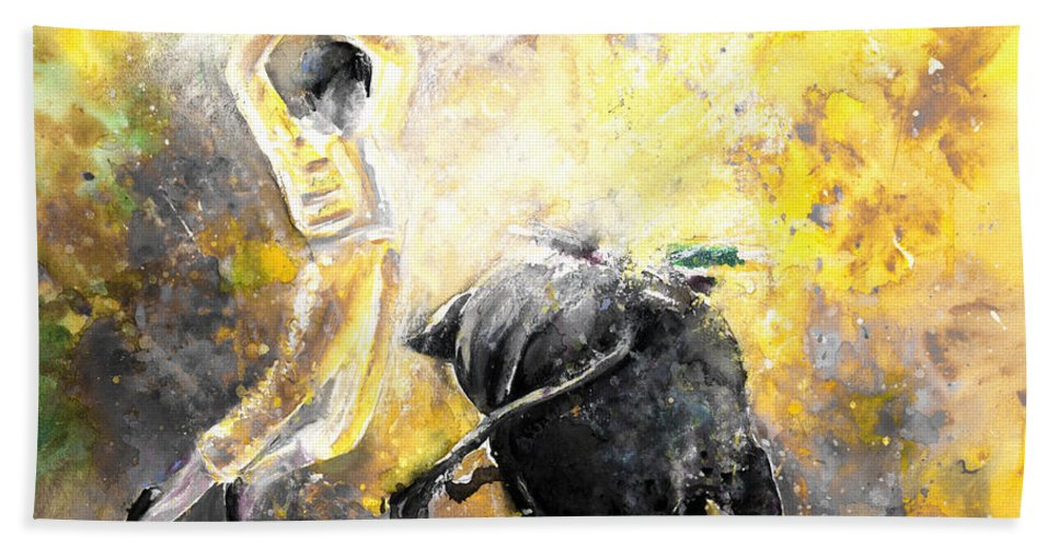 Animals Hand Towel featuring the painting Lightning Strikes bis by Miki De Goodaboom