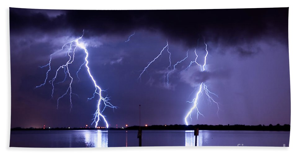 Lightning Hand Towel featuring the photograph Lightning Over Tampa Causeway by Stephen Whalen