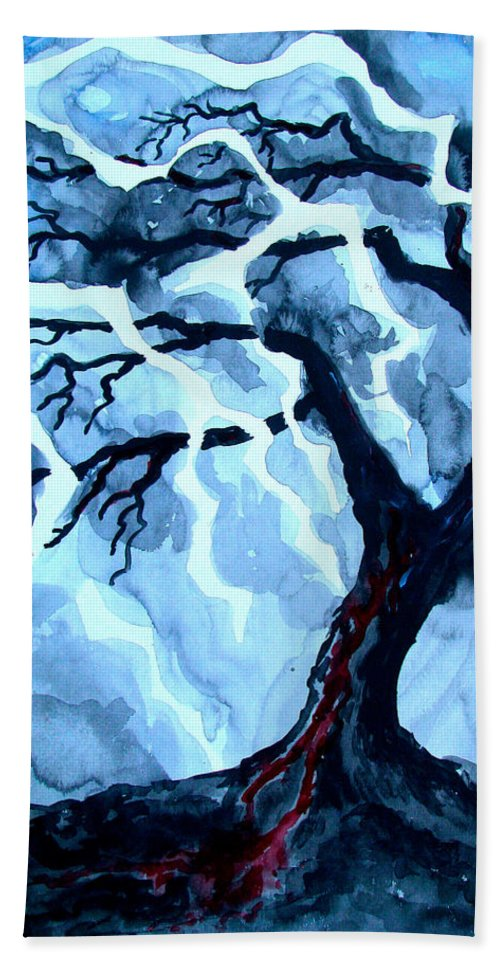 Tree Hand Towel featuring the painting Lightning Tree by Linda Williams