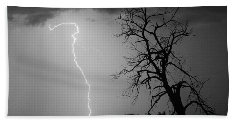Tree Bath Sheet featuring the photograph Lightning Tree Silhouette Black And White by James BO Insogna