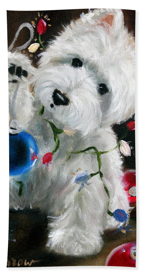 Westie Hand Towel featuring the painting Lights And Balls by Mary Sparrow