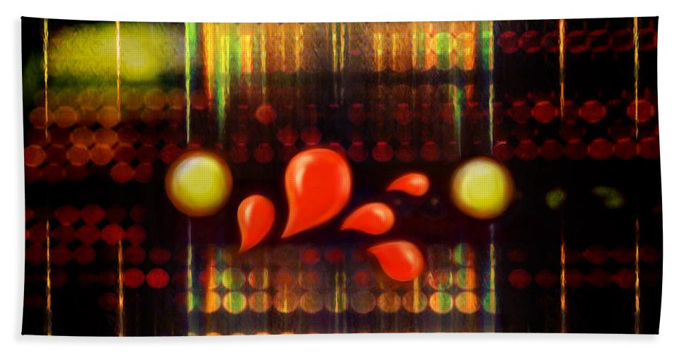 Abstract Hand Towel featuring the digital art Lights_bleed by Scott Smith