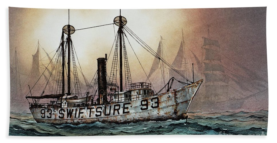 Lighthouse Fine Art Print Hand Towel featuring the painting Lightship Swiftsure by James Williamson