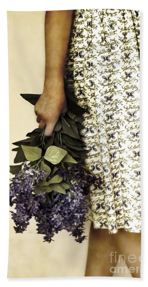 Caucasian; Teen; Teenager; Young Woman; Female; Beautiful; Lovely; Gorgeous; Petite; Prim; Proper; Butterflies; Dress; Flowers; Bouquet; Lilacs; Purple; Cropped; Holding; Hand; Legs; Crossed Hand Towel featuring the photograph Lilac Bouquet by Margie Hurwich