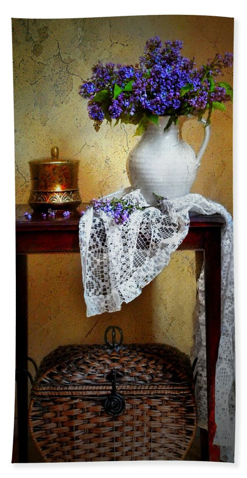 Still Life Hand Towel featuring the photograph Lilacs And Lace by Diana Angstadt