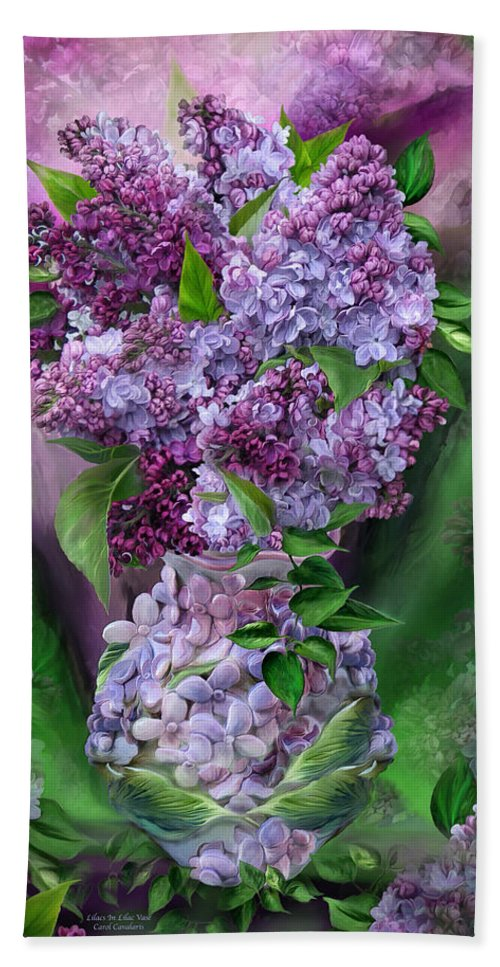 Lilac Hand Towel featuring the mixed media Lilacs In Lilac Vase by Carol Cavalaris