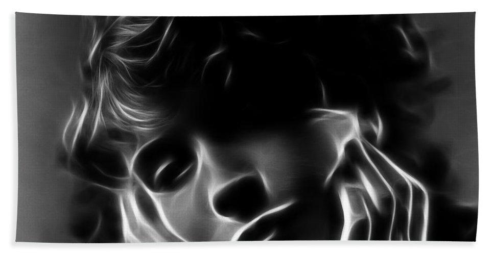 Lil Damita French American Actress Face Portrait Expressionism Digital Art Woman Girl Dreamy Dream Silent Movie Paris Hollywood Errol Flynn Vintage Hand Towel featuring the digital art Lili Damita by Steve K