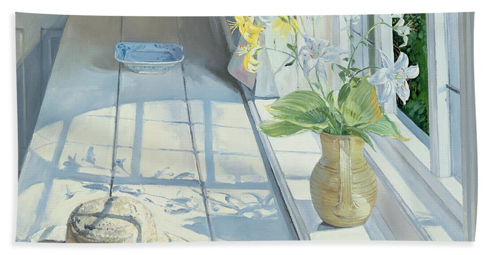 Window Bath Towel featuring the painting Lilies And A Straw Hat by Timothy Easton