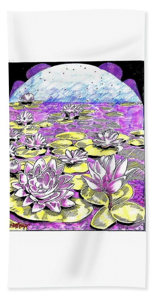 Lilies Of The Lake Bath Sheet featuring the drawing Lilies Of The Lake by Seth Weaver