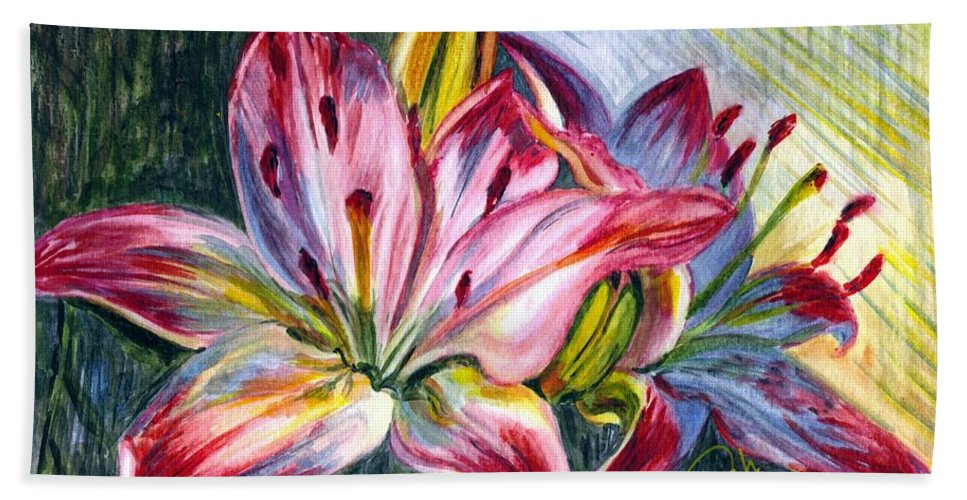 Lily Hand Towel featuring the painting Lilies Twin by Harsh Malik