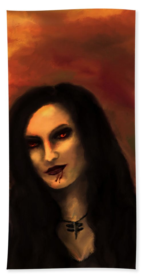 Lilith Hand Towel featuring the painting Lilith by Persephone Artworks