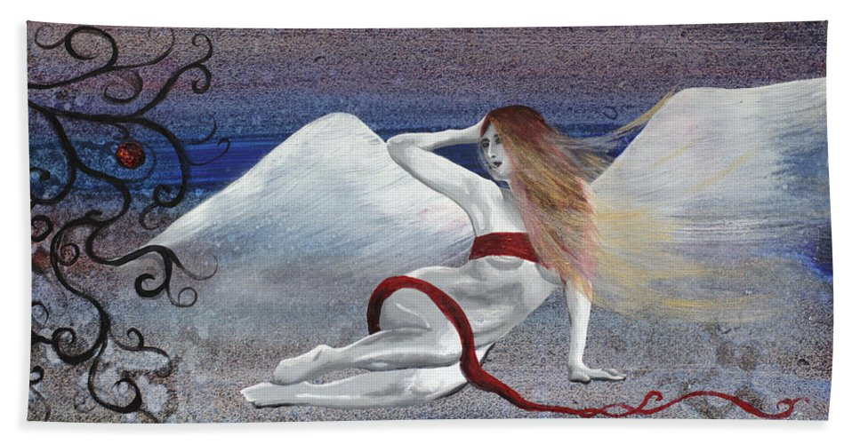 Lilith Hand Towel featuring the painting Lilith by Stacey Austin