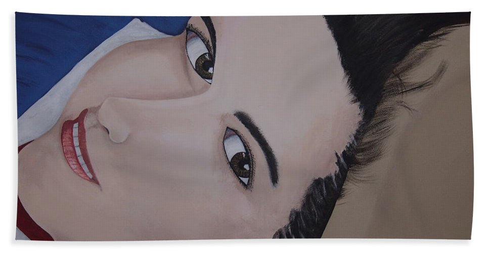 Portrait Bath Towel featuring the painting Lilly by Dean Stephens