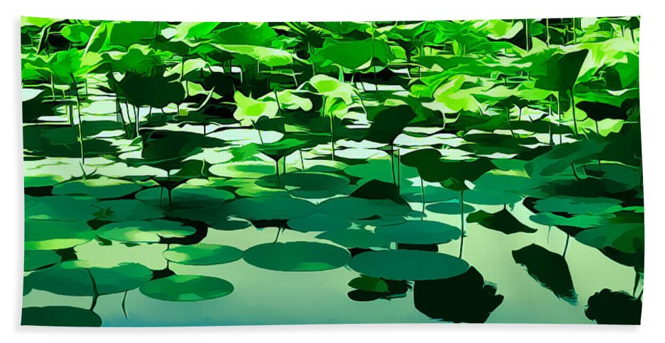 Lilly Pads Hand Towel featuring the photograph Lilly Pads Of Reelfoot Lake by Bonnie Willis