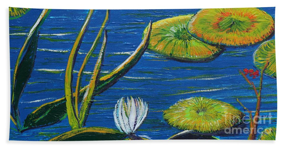 Landscape Hand Towel featuring the painting Lilly Pads by Stefan Duncan