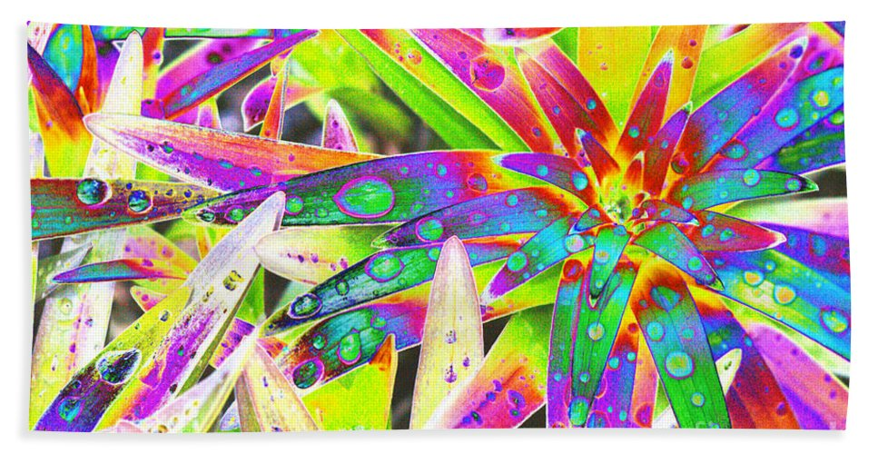 Lily Hand Towel featuring the digital art Lily Leaves Raindrops by Carol Lynch