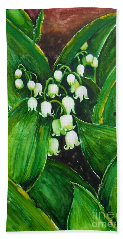 Lily Of The Valley Hand Towel featuring the painting Lily Of The Valley by Zaira Dzhaubaeva
