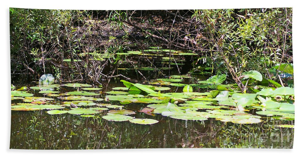 Lily Pads Bath Sheet featuring the photograph Lily Pads 1 by Nancy L Marshall