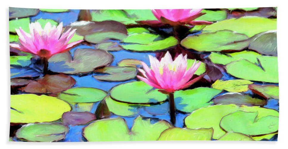 Lily Pond Bath Sheet featuring the painting Lily Pond by Dominic Piperata